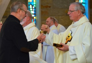Fr. John van den Hengel (right) represented the Canadian Region at the funeral for Fr. Mike Burke